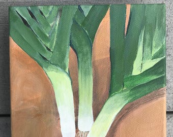 Small Original Acrylic Painting of Leeks for the Kitchen