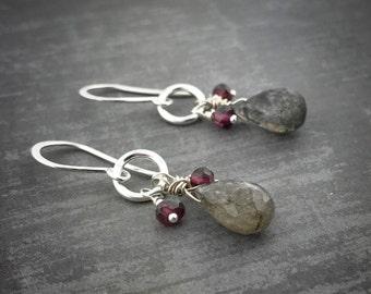 Garnet Labradorite Sterling Silver Earrings - Labradorite Earrings - Garnet Earrings - Drop Earrings - Pam Hurst Designs - Sterling Jewelry