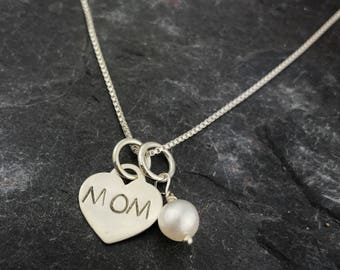 Mom Necklace - Mother's Day Necklace - Mother's Day Gift - Pearl - Sterling Silver Necklace
