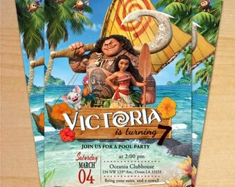 Moana Birthday Party, Princess Moana Invitation, Disney Moana birthday Invitation, Moana Birthday, Moana - Personalized