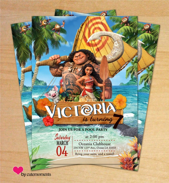 Moana Birthday Party Princess Moana Invitation Disney Moana – Personalized Disney Birthday Invitations