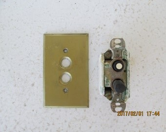 Light Switch Push Button GE Antique with Brass Cover Plate