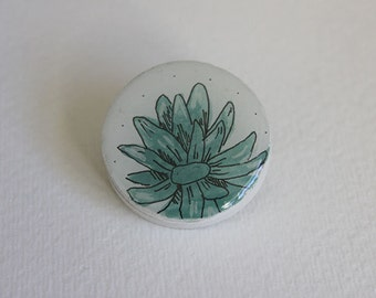 Cactus pin- Succulent art, succulent jewelry, hand painted, one of a kind
