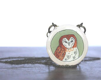 Small Green Owl Necklace