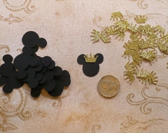 25 Small 1 inch Baby Prince Mickey Mouse Black Head Tiny Gold Crown Shapes Die Cuts 4 crafts Bags Tags DIY Kids Crafts Birthday Party