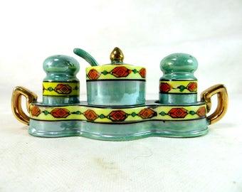 Art Deco Green Lustre Cruet Set, Japanese Noritake Style Porcelain Salt Pepper & Mustard Set in Tray + Spoon 1930s