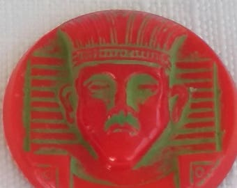 Sphinx Vintage GLASS cabochon German Egypt Revival 30mm RED green