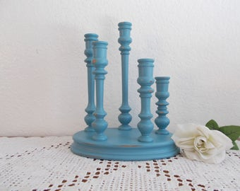 Aqua Turquoise Teal Blue Candelabra Taper Candle Holder Up Cycled Vintage Wood Candleholder Beach Cottage Coastal Seaside Island Home Decor