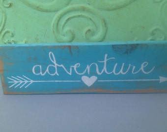 Rustic Arrow Adventure Sign, Wooden Home Decor Adventure Sign, Gallery Wall Sign Decor