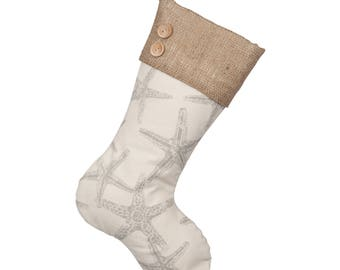 Starfish Christmas Stockings - Starfish Boot with Burlap Cuff and Two Wooden Buttons - Single Stocking (1)