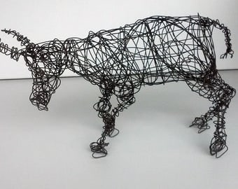 Unique Wire Animal Sculpture - CHARGING STEER