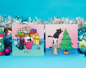6 Christmas Helper Cats  Christmas Cards