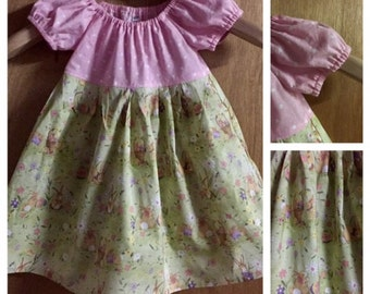 Easter  Spring Cotton Peasant Dress, size 2t
