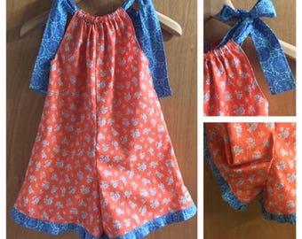 Pillowcase Shorts Romper, Girls size 6