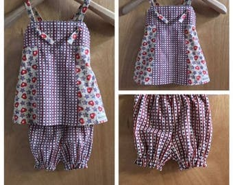 Fourth of July Infant Knot Dress and Bloomers, size 6 months