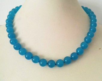 jade necklace - blue jade necklace , 10mm blue jade necklace,  free shipping
