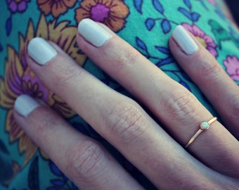 Gold opal stacking ring -skinny gold ring, gold opal ring, 14k gold filled ring