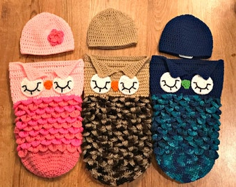 Crochet Sleeping Owl Cocoon and Hat Set, Newborn Photo Set, 3 Month, 6 Month, Girl, Boy, Gender Neutral, Ready To Ship, Baby Shower Gift