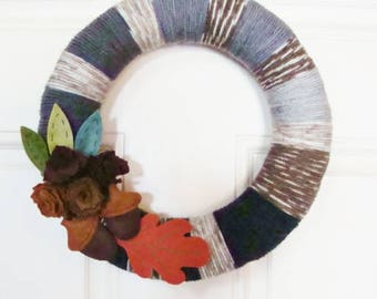 Fall Door or Wall Wreath Handmade Wool and Yarn