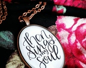 Then Sings my Soul Glass Dome Pendant Necklace - Hymn Lyrics - Songs of Praise Religious Calligraphy Jewelry - Meaningful Gift for Her