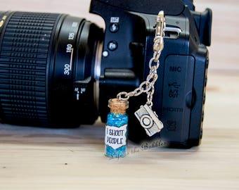 Camera Bag I Shoot People Purse Backpack Bag Charms, Camera Charm, I Shoot People bokeh Looking Magic, Photographer Key Chain Keychain