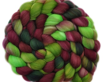 Hand painted wool roving - Superwash Merino Wool / Nylon  85/15% spinning fiber - 4.0 ounces - Berry Picking 1