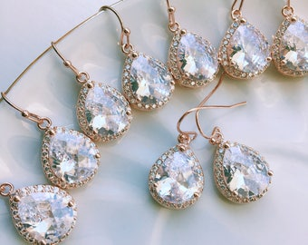 FLASH SALE -- Crystal Teardrop Earrings - Rose Gold, Gold, OR Silver
