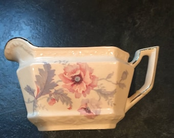 Pink creamer pitcher 1931 Edwin M Knowles China Co.  Mayglow Alice Ann rare priced reduced because of damage