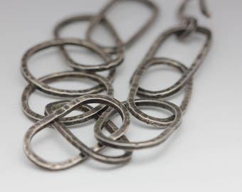 Sterling Silver Link Bracelet, Rustic, Unique, Textured Statement Piece, Unisex