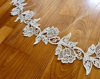 Ivory Venice Lace Trim, Wedding Veil Lace, Ivory Wedding Lace, Corded Lace Trim, Bridal Lace Trim, Ivory Lace, Flower Lace, Bridal Lace Yard