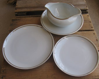 St. Regis Fine China Wedding Band #102, Gravy Boat, Salad and Bread Butter Plates, Serving Pieces, White Gold Dinnerware