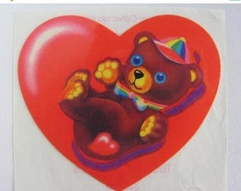 SALE Rare Vintage Lisa Frank Large Teddy Bear Heart Shaped Sticker - 3 inch 80's Collectable Scarlet Red Rainbow Bow Tie and Hat