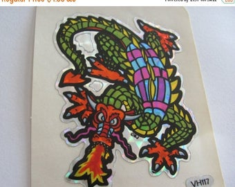 SALE Fabulous Vintage Prismatic Dragon Sticker Sheet - 80's Prism Retro BJ Decal Specialties Fantasy Claw Wings Fire Breathing Scrapbook