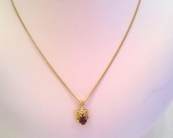 Delicate Ruby Red Glass Pendant Set in Goldtone Metal on Goldtone Chain - Vintage Pendant Necklace