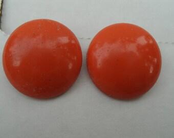Orange Earrings - 15/16 Inch Diameter - Vintage 1960s Round Orange Screwback Earrings