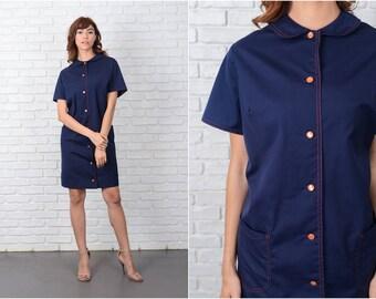 Vintage 50s Navy Blue Dress Shirt Dress Peter Pan Collar knee length 2XL 9533