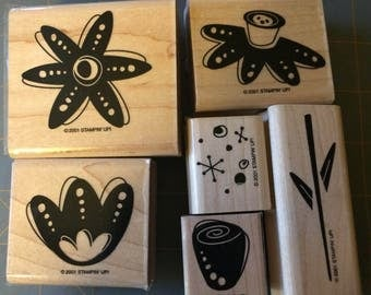 Stampin Up FUNKY FLOWERS  2001  Retired  set of 8 wood mounted stamps