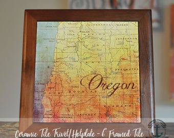 "Trivet Hot Plate:  Oregon Coast |  Pacific Northwest |  6"" Ceramic Trivet or Tile Kitchen Accessory"