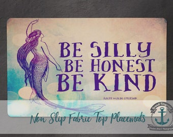 Placemat - SHK Mermaid | Emerson Quote Nautical Beach House Decor | Anti Skid/Non Slip Fabric Top Rubber Backed Awesomeness
