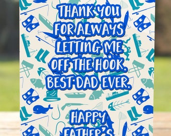 Father's Day Card: Let Me Off the Hook Fishing Dad Greeting Card | A7 5x7 Folded - Blank Inside - Wholesale Available
