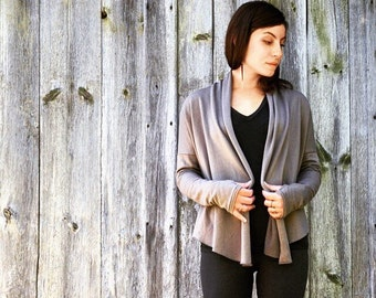 tencel fleece wrap cardigan with thumb holes mushroom