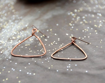 Pyramids - hammered copper Earrings, 1 Pair select size