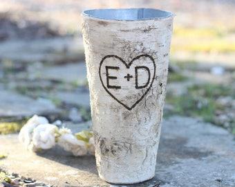 Birch Bark Flower Vase Tin Personalized Flower Pot Pail