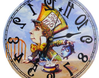 Mad Hatter clock backwards, Alice in Wonderland decor, Mad Tea Party wall clock, We're all mad here