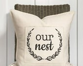 """SALE 18"""" Our Nest Pillow - Cozy Home Decor - Wreath Design - Housewarming - Scrappy Frayed Pillow Cover - Cotton Canvas - Loop and Toggle Cl"""