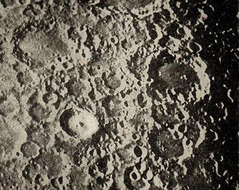 1900 SURFACE Of The MOON 69, Clavius, Tycho, Longomontanus, Maginus, Original Vintage Space Astronomy Print