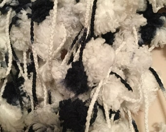 Plethora of Pom Poms Scarf Boa -- Black and White