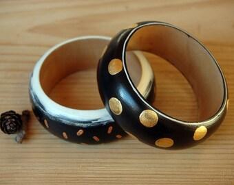 Black and white wooden bangle,minimal wood bangle hand painted boho bracelet ,wood bracelet