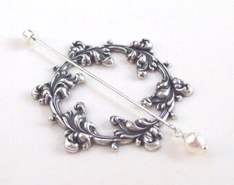 Silver Shawl Pin, Victorian Shawl Pin, silver lapel pin, hat pin, stick pin, silver scarf pin, flourish, victorian, open, wreath, round