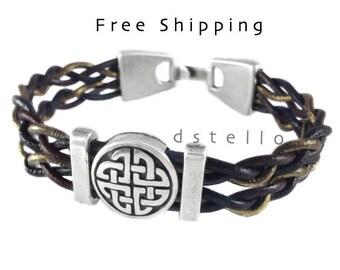 Celtic jewelry, celtic bracelet, unisex bracelet, celtic leather bracelet, irish bracelet, tribal, love knot, customized,